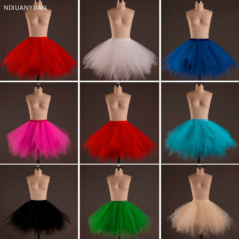 2020 Short Petticoat Tulle Skirts Womens Elastic Stretchy Layers Summer Adult Tutu Skirt Underskirt Rockabilly