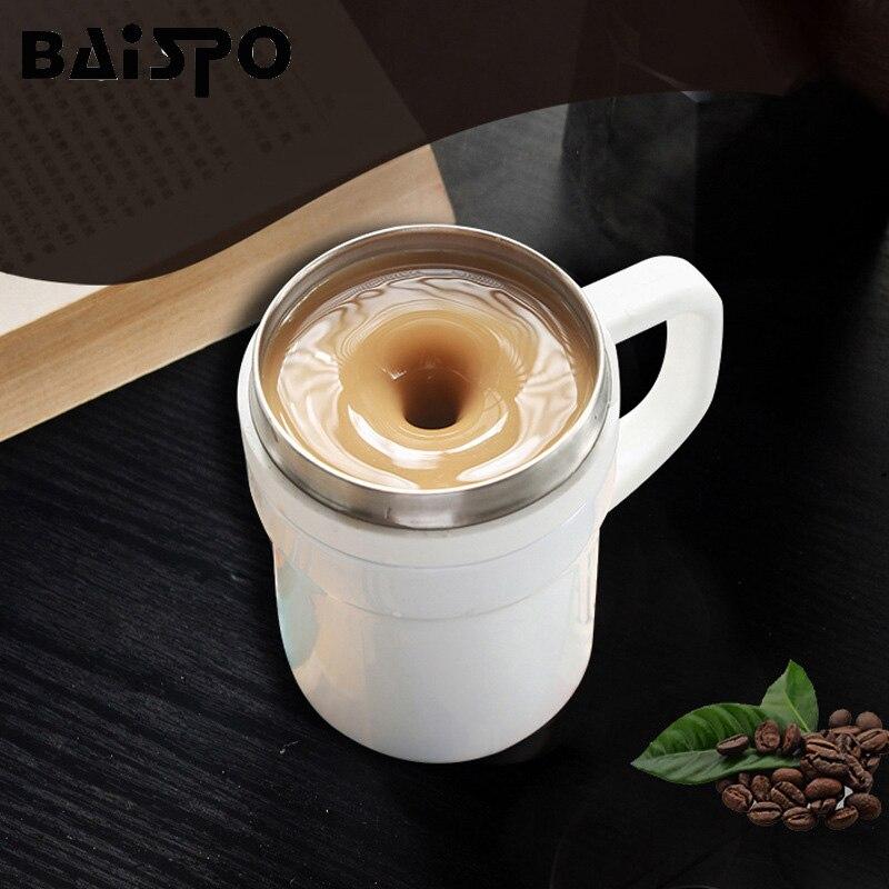 BAISPO кружка из нержавеющей стали с автоматическим перемешиванием, Термокружка с магнитным нагревом, чашка для смешивания кофе, молока, батарея не требуется