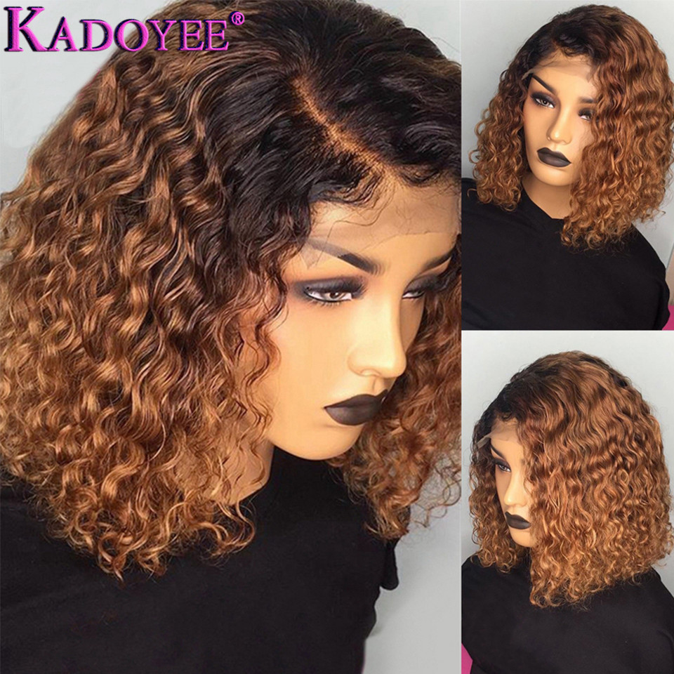 Ombre Human Hair Wigs Pre-colored Lace Front Wig 13x4 Bob Curly Wig Malaysia Remy Hair Wig Pre-plucked With Baby Hair For Women