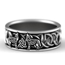 Viking, скандинавский мифологический гигантский волк, мужское кольцо, защита, тотем, волк, мода, хип-хоп, рок, унисекс, палец, кольцо, панк, подаро...