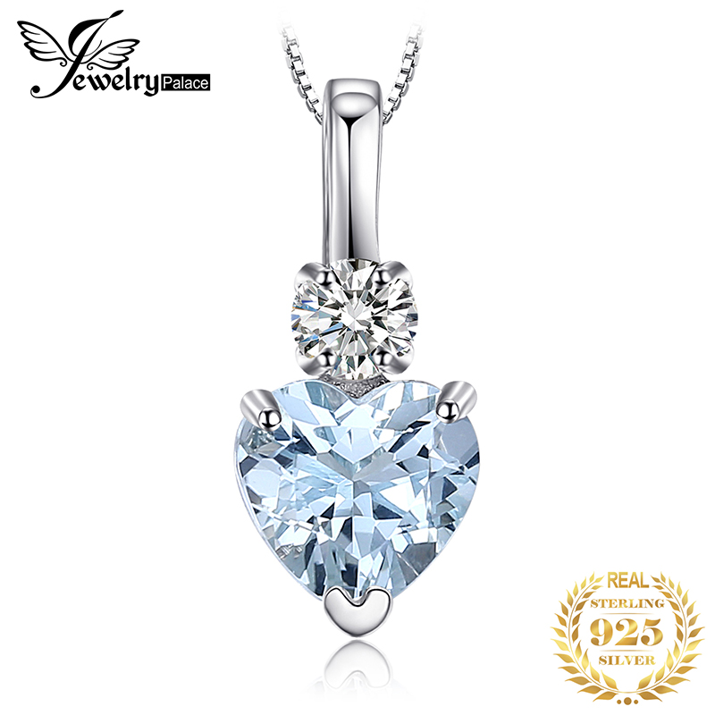 JewelryPalace Natural Aquamarine White Topaz Pendant Necklace 925 Sterling Silver Gemstones Choker Necklace Women Without Chain