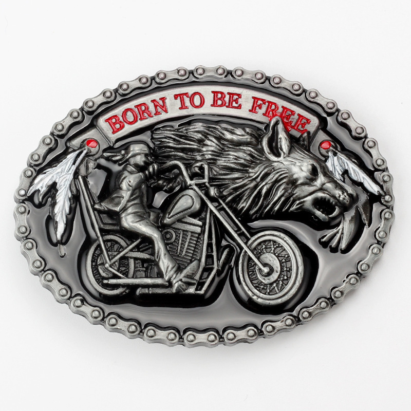 Men s Vintage Hip Hop Western Cowboy Wolf Motorcycle Head Winged BIKER TO THE BONE Pattern
