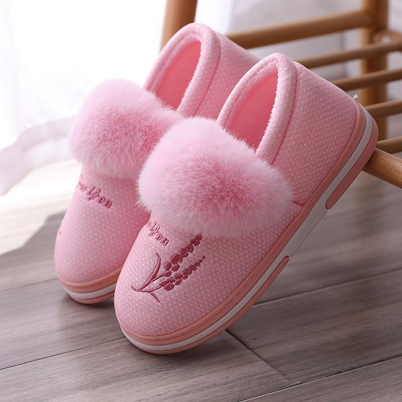 Женские зимние тапочки; Теплые домашние тапочки; Обувь для влюбленных пар; Женская обувь без шнуровки; Мягкая домашняя обувь на плоской подошве; Удобные женские шлепанцы на меху|Тапочки|   | АлиЭкспресс