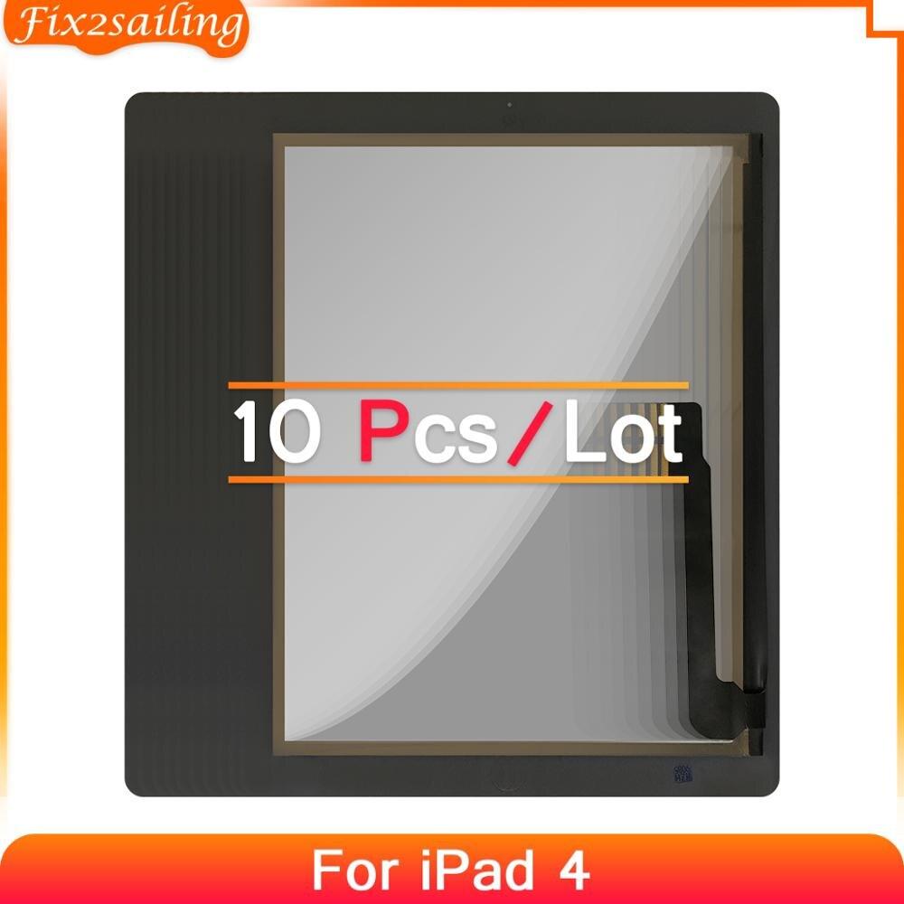 10 шт. сенсорный экран для iPad 4 A1458 A1459 A1460 Внешний LCD сенсорный Экран дигитайзер запасная Передняя стеклянная панель 100% тестирование