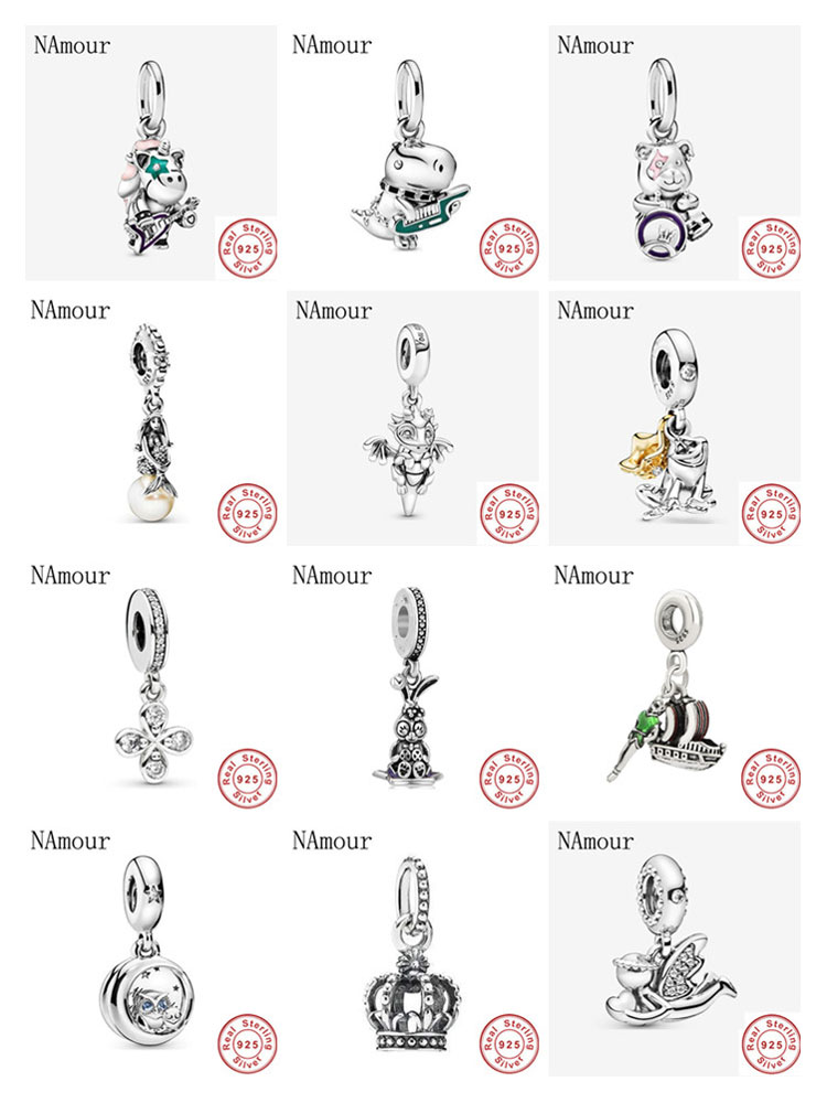 New Theodore Bear unicorn Punk Band owl Bead fit original Pandora charms 925 sterling silver Bracelet for women fashion jewelry(China)