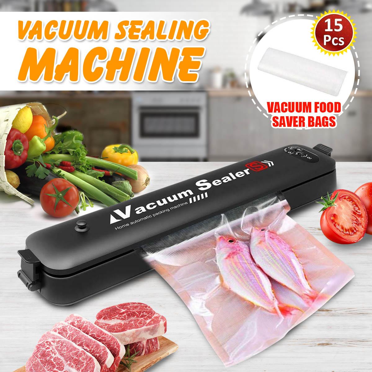 Household Food Vacuum Sealer 220V Mini Kitchen Packaging Machine Film Sealer Vacuum Packer With 15Pcs Vacuum Saver Bags