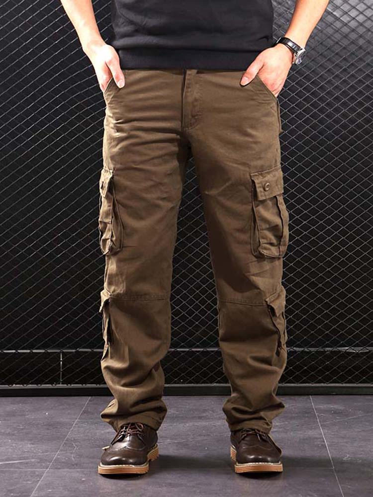 Outwear Cargo-Pants Casual-Trousers Military-Style Men Multi-Pockets Straight Men's Cotton