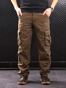 Outwear Cargo-Pants Casual-Trousers Multi-Pockets Military-Style Straight Cotton Men's