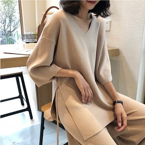 Image 3 - Women Autumn Knitted Tracksuit V neck Knitted Pullover Women Suit Clothing Loose Sweater Wide Leg Pants Suit
