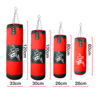 60cm-120cm Empty Boxing Sand Bag Hanging Kick Sandbag Boxing Training Fight Karate Punch Punching with Chain Hook Carabiner