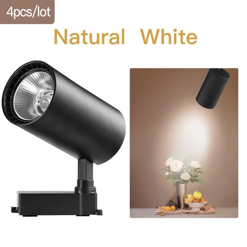 COB светодиодный Трековый светильник 220V 12/20 Вт, 30 Вт, 40 Вт регулируемый Точечный светильник Алюминий потолочный рельсы для Кухня магазин - Испускаемый цвет: Black-Natural White