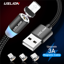 USLION 2M 3A Magnetic Cable Micro USB Type C Fast Charging For iPhone X XR XS 8 7 Samsung S10 Xiaomi Magnet Phone Charger