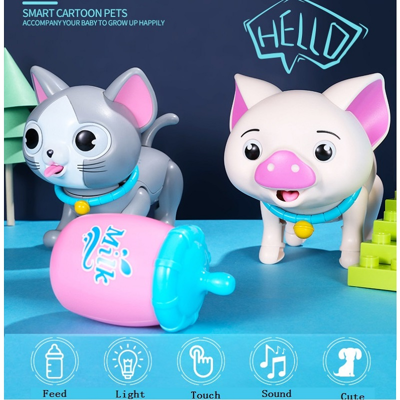Interactive Toys Intelligent Dog Cat Pig Toys Cute Animals Robot LED Eyes Sound Smart Electronic Pet Toys For Children Kids