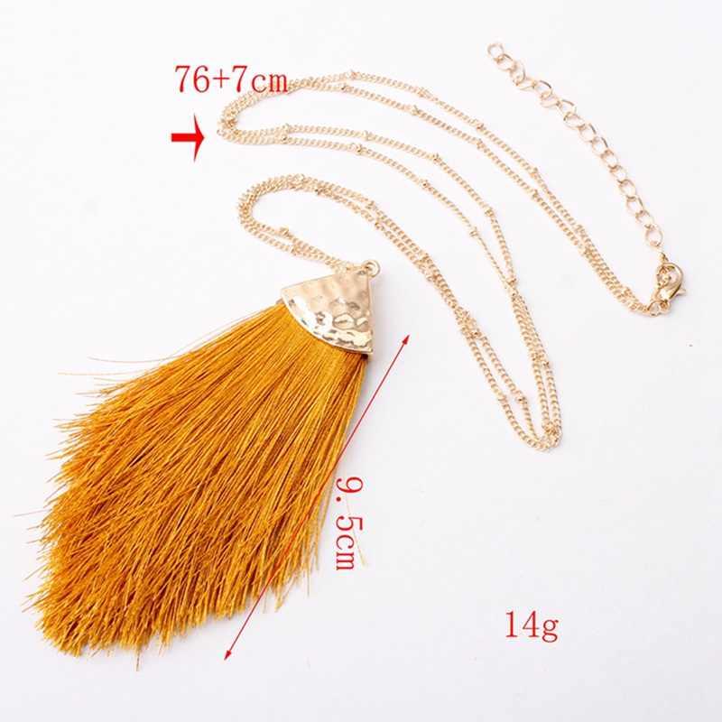 Collar de borla larga cadena de oro para mujer joyería de moda clásica Boho Vintage declaración Fringe bohemio collar regalo de aniversario