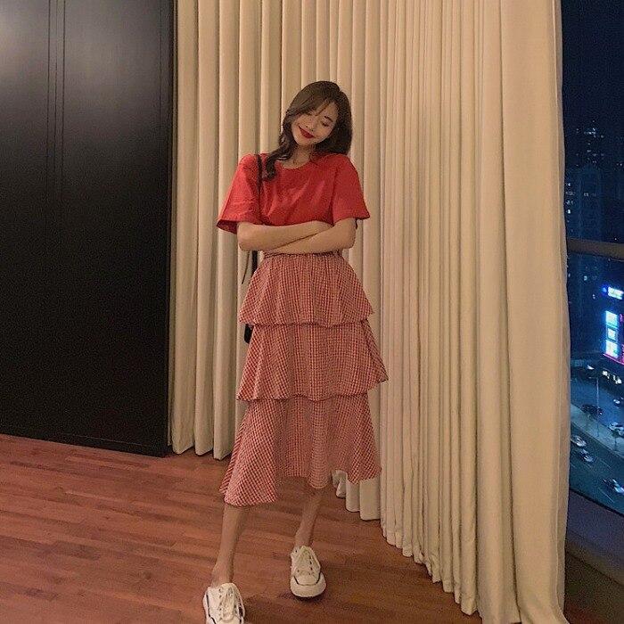Summer 2019 New Style Hipster Slimming Short Sleeve T-shirt WOMEN'S Dress + Plaid Cake Dress Half-length Skirt Two-Piece Set