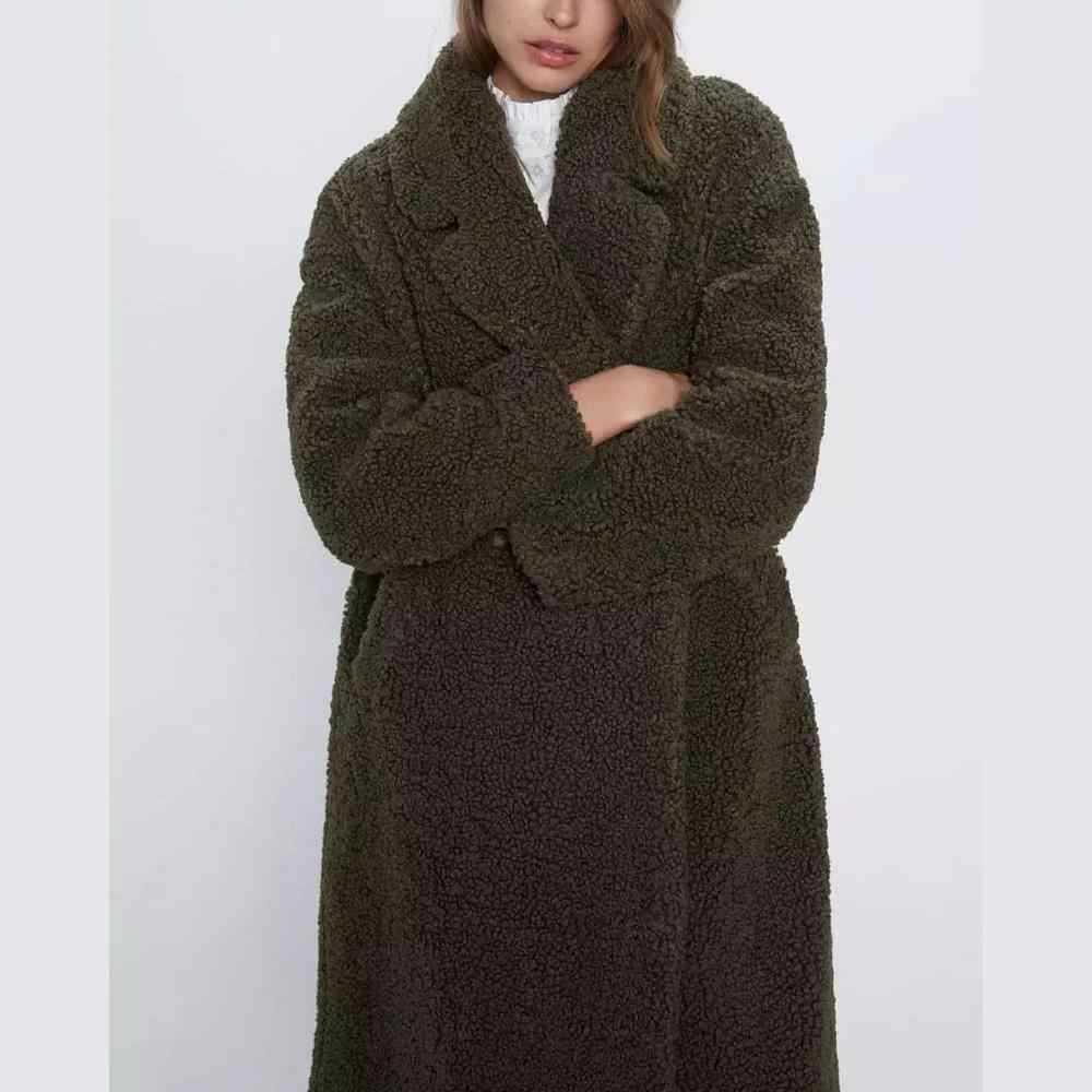 ZA autumn winter Women long Furry Faux lambswool Coat jacket Female Outwear casual Overcoat fur cardigan woman clothes