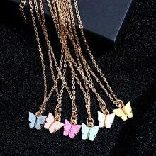 Flatfoosie корейское милое ожерелье с бабочкой для женщин золотого цвета Длинная цепочка ожерелье с подвеской эффектные модные очаровательные подарочные украшения