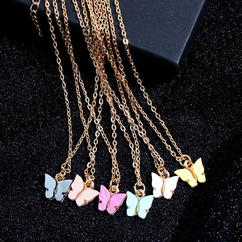 Flatfoosie Korean Cute Butterfly Necklace For Women Gold Color Long Chain Pendant Necklace Statement Fashion Charm Jewelry Gifts