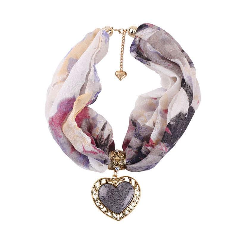 2019 Women Fashion Jewelry Choker Scarf Ethnic Style Pendant Necklace Scarfs Female Neck Scarf Foulard Femme Print  Neckerchief