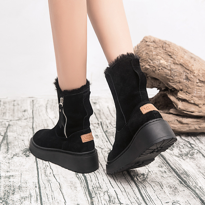 SWYIVY Leather Winter Boots Women Casual Wedge Shoes Woman 2019 Fashion Mid Calf Snow Boots For Women Shoes Short Plush Booties