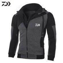 Осень Daiwa Мужская толстовка свитер рыболовная куртка Мужская дышащая Лоскутная рыболовная рубашка с длинным рукавом для рыбалки одежда для пеших прогулок