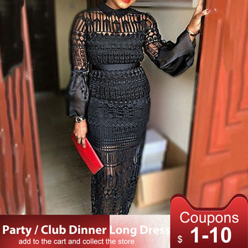 цена на Summer Hollow Out Black Long Sleeve Lace Sheer Dress For Women Party Long Vestidos Round Neck Party Dinner Club Maxi Dress 2020