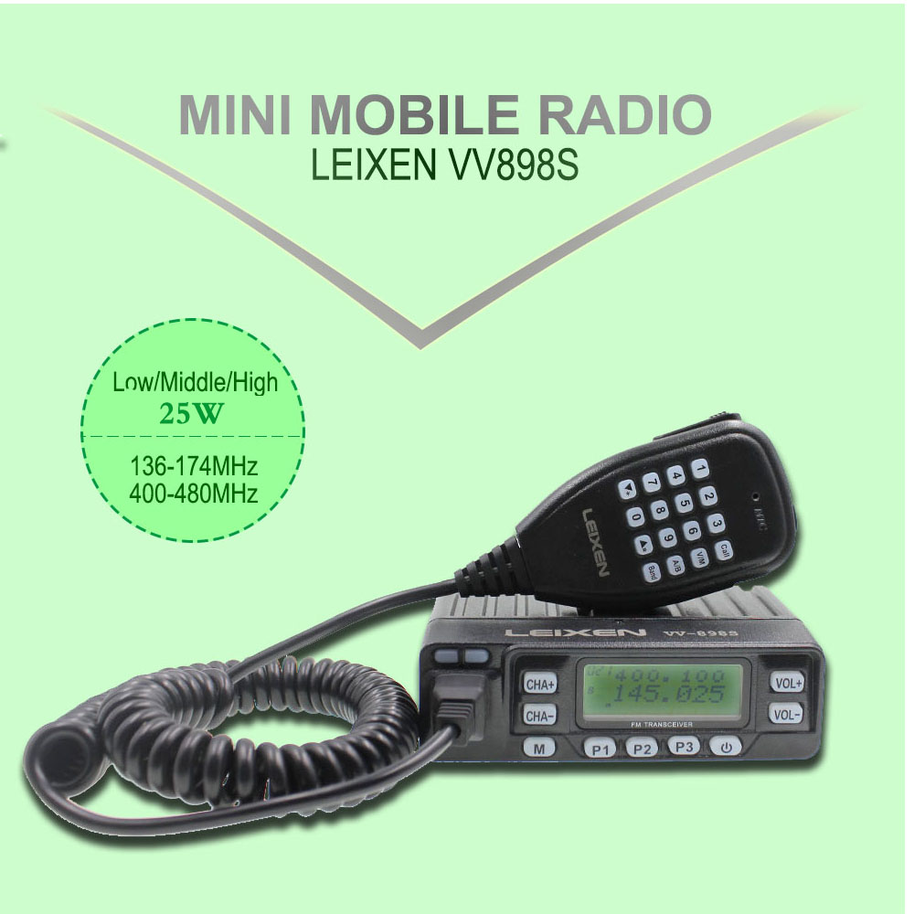 Leixen VV-898S Upgrade Powerful 25W Tri Powermini  Radio Multi Receive Dual Band VHF+UHF Mobile Radio VV-898 S Car Transceiver