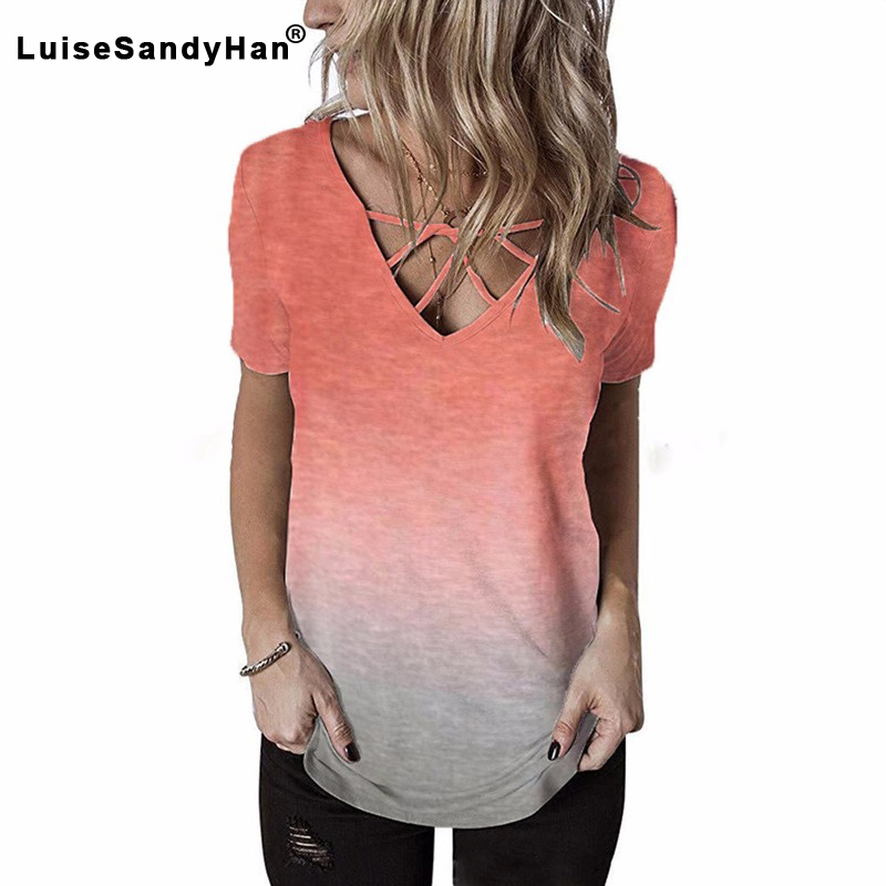 Synthetics Women's V-neck Chest Cross T-shirt Rainbow Gradient Casual Printed Color Short-sleeved T-shirt Female 2020 Summer