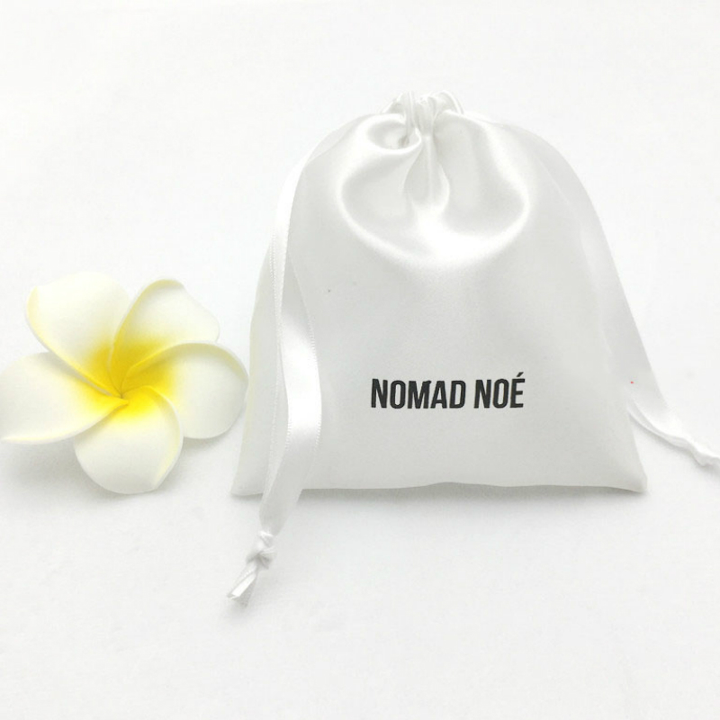 Satin Bag For Jewelry Packaging White Drawstring Pouch Print Logo Cosmetic Party Beaded Luxury Sachet Custom Reusable Silk Bags