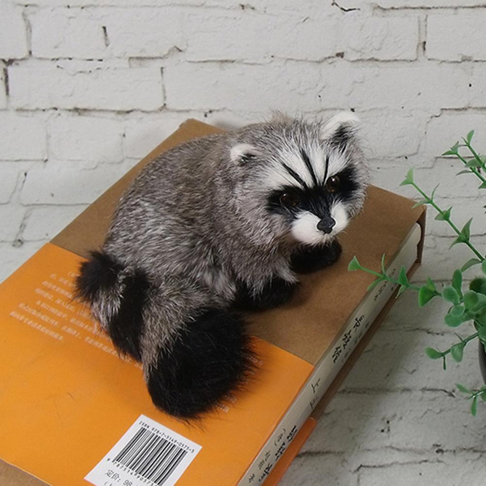 Simulation 3D Raccoon Furry Animal Model Toy Art Craft Desktop Decor Photo Props Strong Antidestructive Ability Not Easy Break