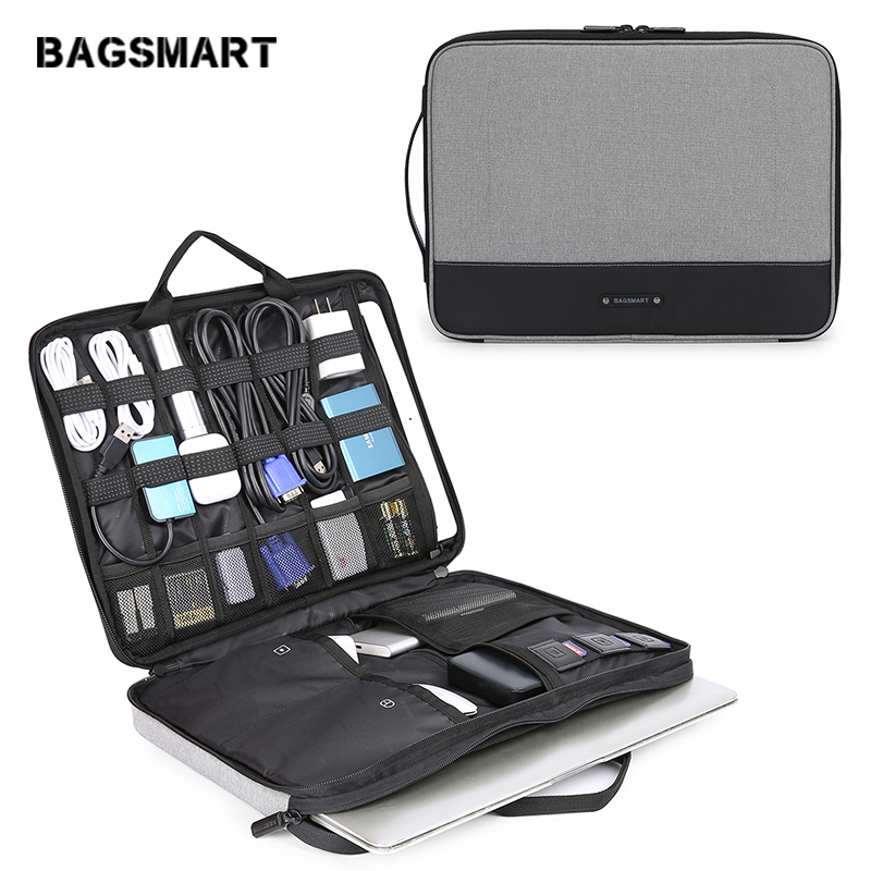 BAGSMART Travel Organizer Electronics Laptop Accessories Bag with 15 inch MacBook Pro Compartment for Cable Adapter Hard Drives