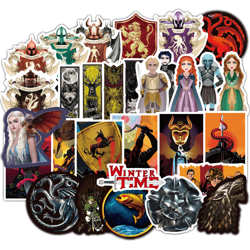 100pcs Cartoon Stickers Game Of Thrones Stickers TV Series For Luggage Car Laptop Notebook Decal Fridge Skateboard Sticker F2