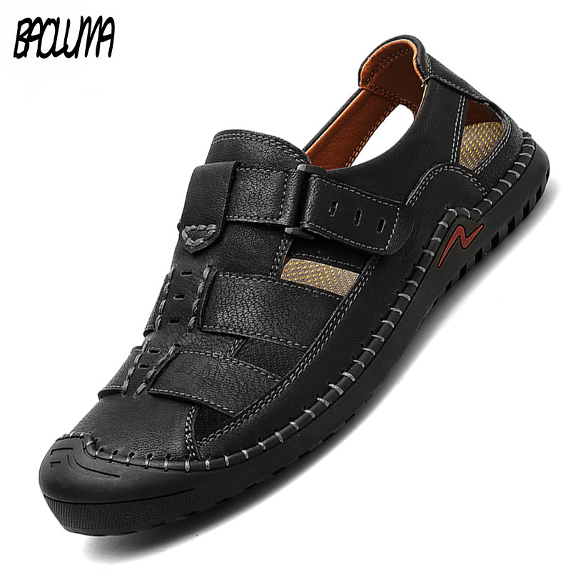 Fashion Men's Sandals Summer Genuine Leather Men Beach Sandals Comfortable Men Gladiator Sandals Simple Design Mens Style Shoes