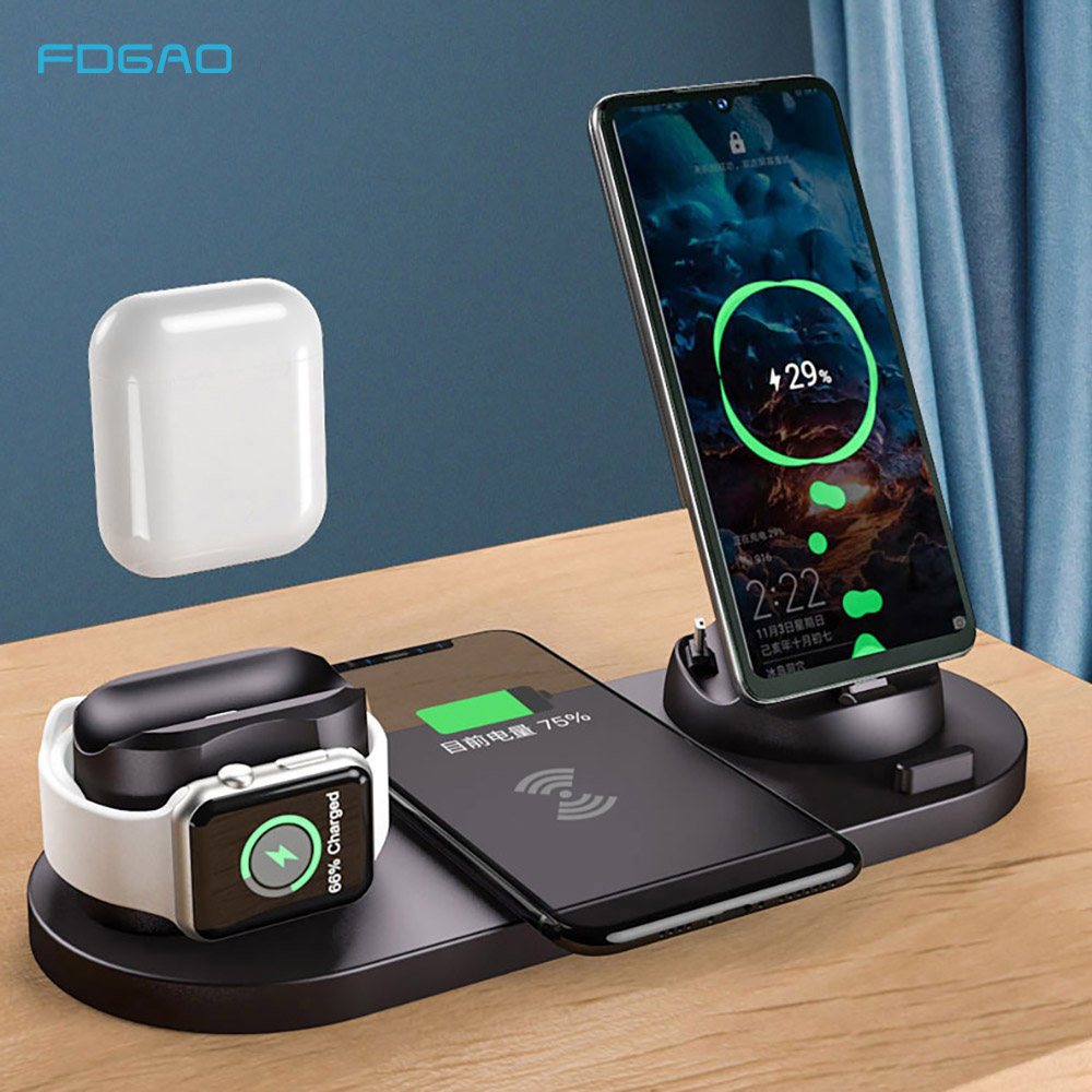 FDGAO <font><b>6</b></font> in 1 Charging Stand 10W <font><b>Qi</b></font> Wireless Charger Dock Station For Apple Watch 5 4 3 2 AirPods Pro <font><b>iPhone</b></font> SE2 11 XS Max XR X 8 image