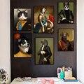 Винтажная стильная картина с рисунком животных Олень кошка собака плакаты-портреты и принты скандинавские настенные художественные карти...