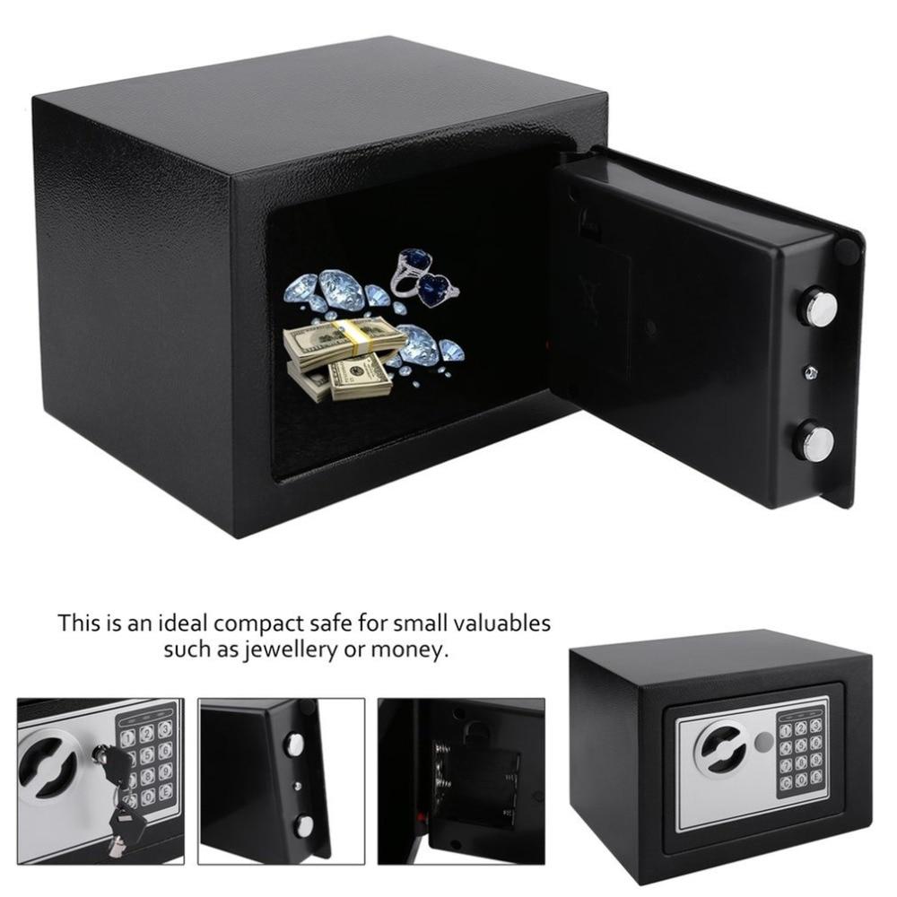 4.6L Solid Steel Electronic Safe Box With Digital Keypad Lock Strongbox Mini Lockable Money Cash Jewelry Storage Box Steel Safe
