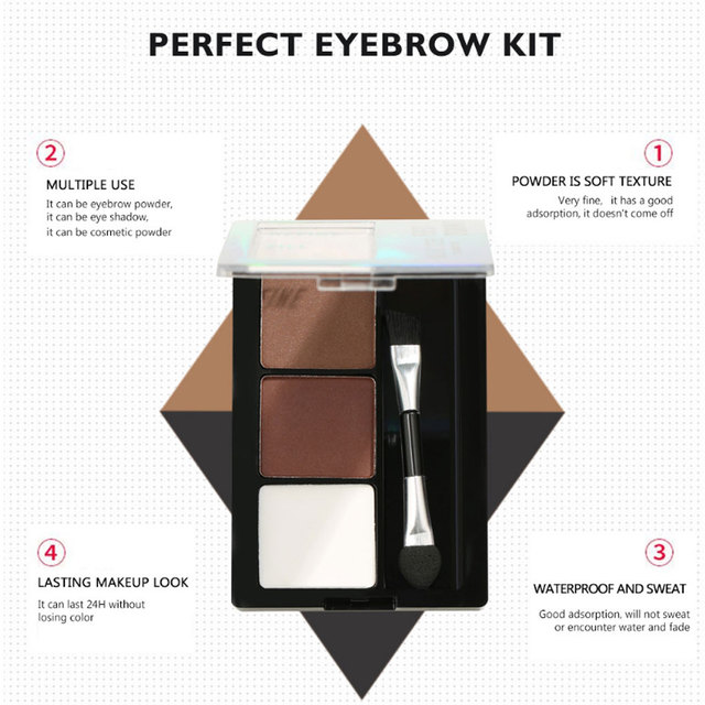Eyebrow Powder 3 Colors Eye Brow Palette Waterproof Eyeshadow Cosmetic Eye Makeup Professional Powder Cosmetic Tools with Brush 5