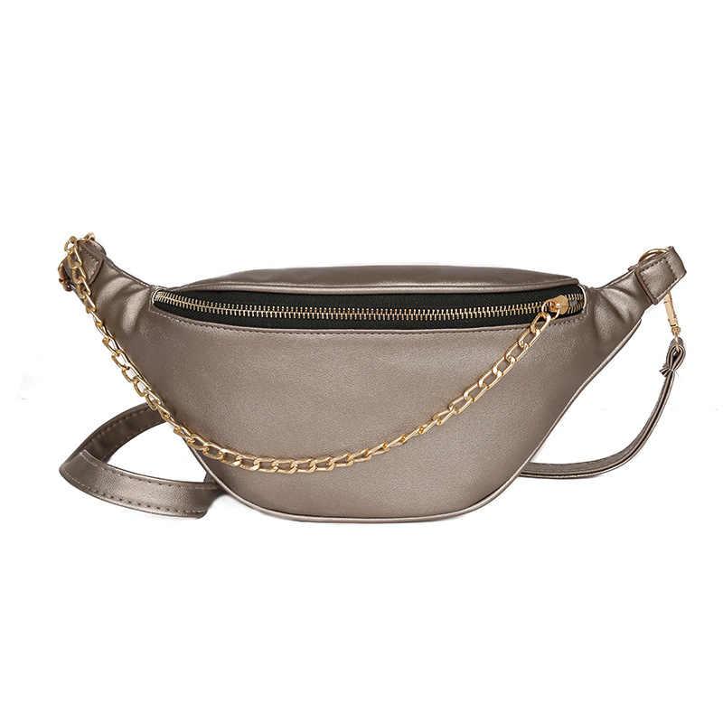 固体インファッションディスコベルトバッグチェーンのウエストバッグレディースカジュアル Pu レザー胸バッグ枕旅行ファニーパック