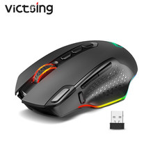 Victsing pc282 10000 dpi rato ergonômico recarregável sem fio do jogo com 10 botões programáveis rgb retroiluminado para o gamer de computador