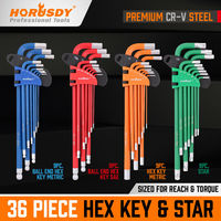 36pc Hex Key Allen Wrench Set Ball End SAE Metric Star Long Arm Industrial Grade|Wrench|   -