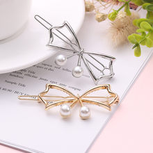 Hot Fashion Hollow Metal Hair Clip Pearl Hairpins Butterfly Barrette Bow-knot Pin Women Fashion Hair Pin Jewelry Hair Accessori(China)