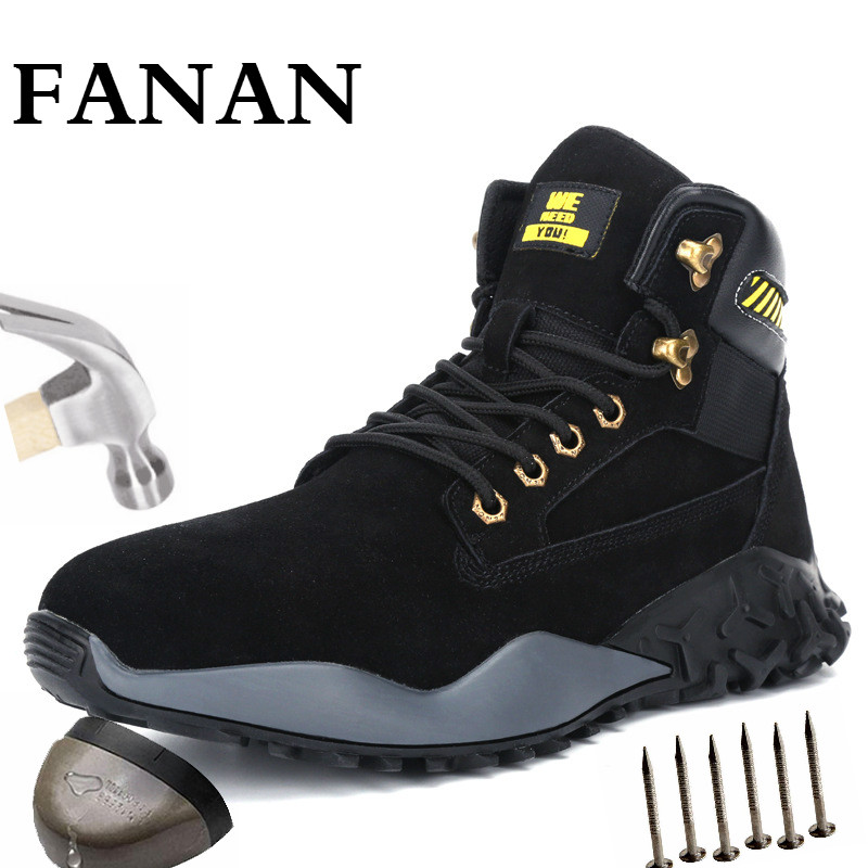FANAN Men's Outdoor Steel Toe Protective Anti Smashing Work Shoes Winter Comfort Lightweight Men Boots Free Shipping Big Size 48