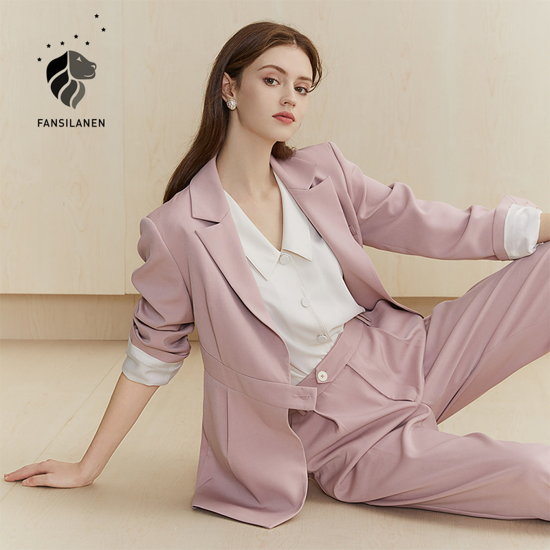 FANSILANEN Casual office lady blazer jacket Women elegant autumn winter pink blazer Business short ladies blazer oversize coat