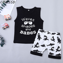 2020 Summer Baby Boy Clothes Set Toddler Kids Cartoon Printed Vest Tops+Shorts 2Pcs Children Boys Clothing Suit roupa menino baby boy girls clothes set summer cartoon printed t shirt tops shorts 2pcs toddler kids costume cotton boys clothing suit 0 7y