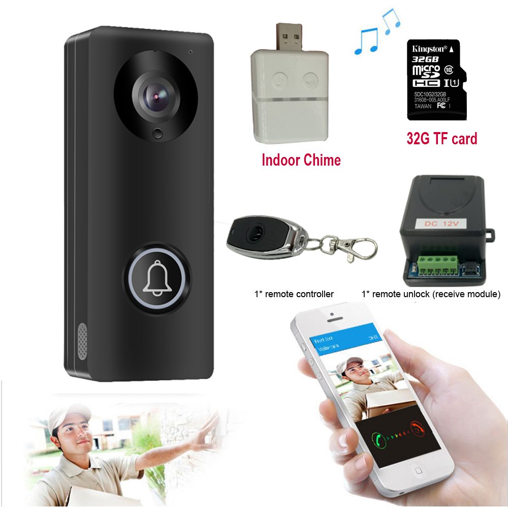 Wireless Wifi Video Door Phone Doorbell Intercom With 1080P Camera Support SD Card Android IOS Smartphone Remote View Unlock