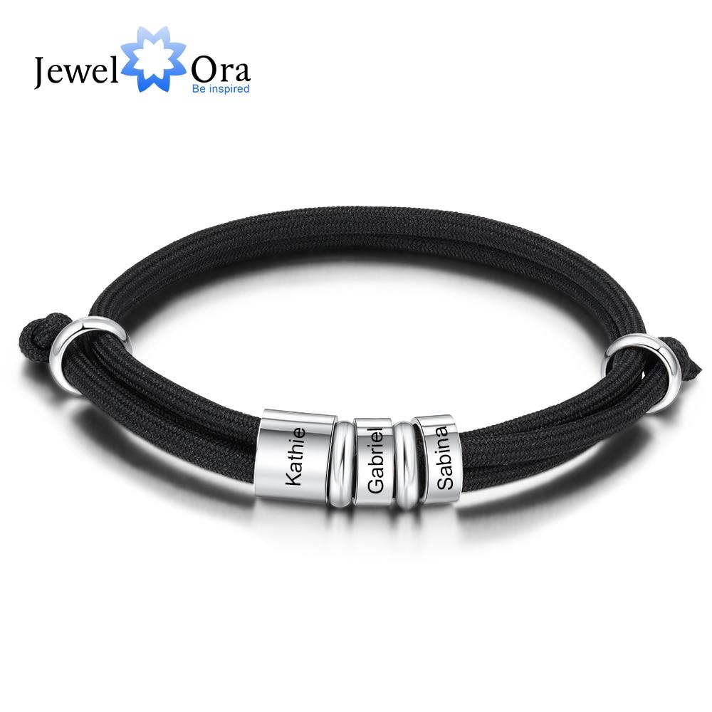 Персонализированные браслеты-шармы из нержавеющей стали с 3 индивидуальными именными бусинами регулируемые веревочные мужские браслеты п...