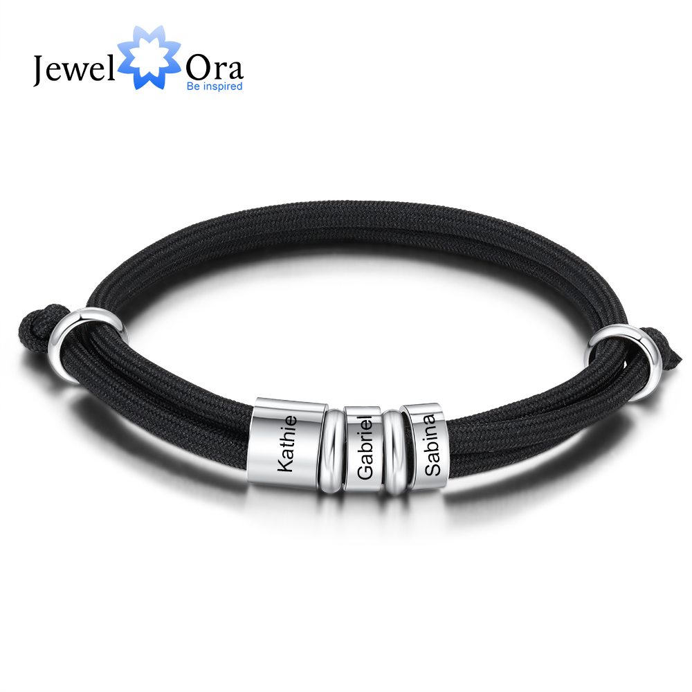 Personalized Stainless Steel Charm Bracelets with 3 Custom Name Beads Adjustable Rope Men Bracelets Gift for Father/Grandfather