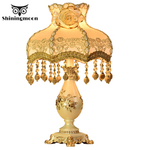 European Court Style Table Lamp Bedroom Bedside Lamp Fabric Art Deco Table Lamps for Living Room Study Home Resin Desk Light