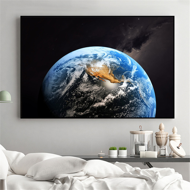 Poster Astronaut on the Moon  in Space Earth Planet A Men Drink Beer Print 01