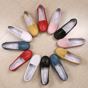 Image 5 - STQ 2020 אביב נשים דירות נעלי נשים עור אמיתי נעלי אישה מגזרת ופרס להחליק על בלט דירות Ballerines דירות 169